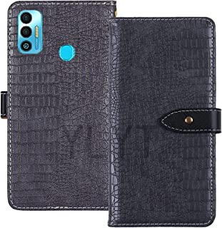 YLYT Shockproof - Gray Flip Leather TPU Silicone Luxury Cover Stand Wallet Case For Tecno Spark 7T 6.52 inch Pouch With Ca...