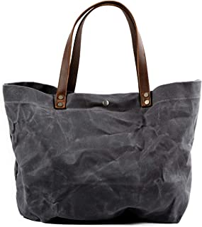 WUDON Waxed Canvas Travel Tote Bag - Extra Large Carryall Shoulder Bag for Women
