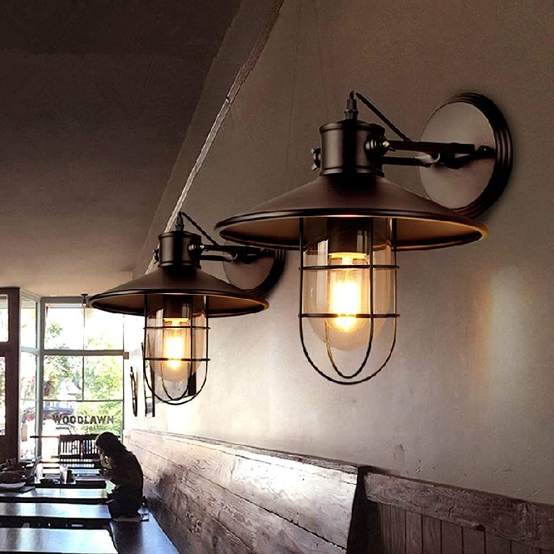 Wandleuchte Wandmontiert Retro Gang Treppe Balkon Auenwand Hngen Lichter Restaurant Bar Glasabdeckung Eisen (Farbe   Contains Bulbs)