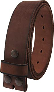 Mens Leather Belt Full Grain Vintage Distressed Style Snap on Strap 1 1/2