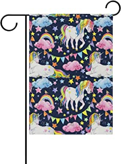 lightly Sweet Home Garden Flag Vertical Double Sided Spring Summer Vintage Rainbow Unicorn Outdoor Yard Flags Decorative 28x40 Inch