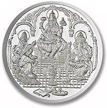 Ganesh Lakshmi Saraswati Coin In Pure Silver 999 Religious Coin 10 Grams