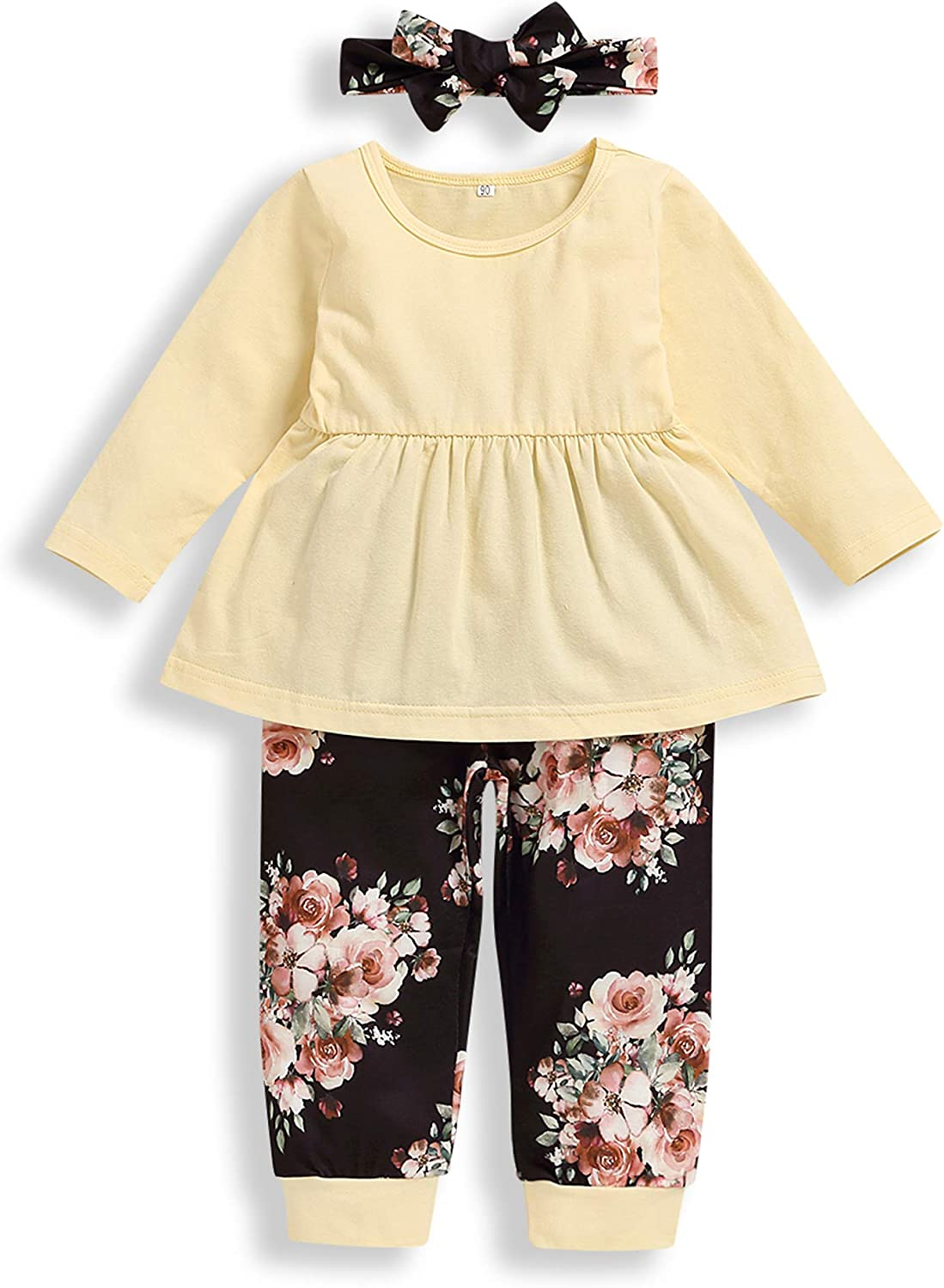 Toddler Baby Girl Clothes Solid Color Ruffle Tops Floral Pants with Headband Outfit Sets Light Yellow