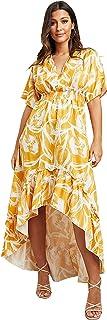 فستان ماكسي للنساء مطبوع وخصر مدروز وبحافة متفاوتة الطول