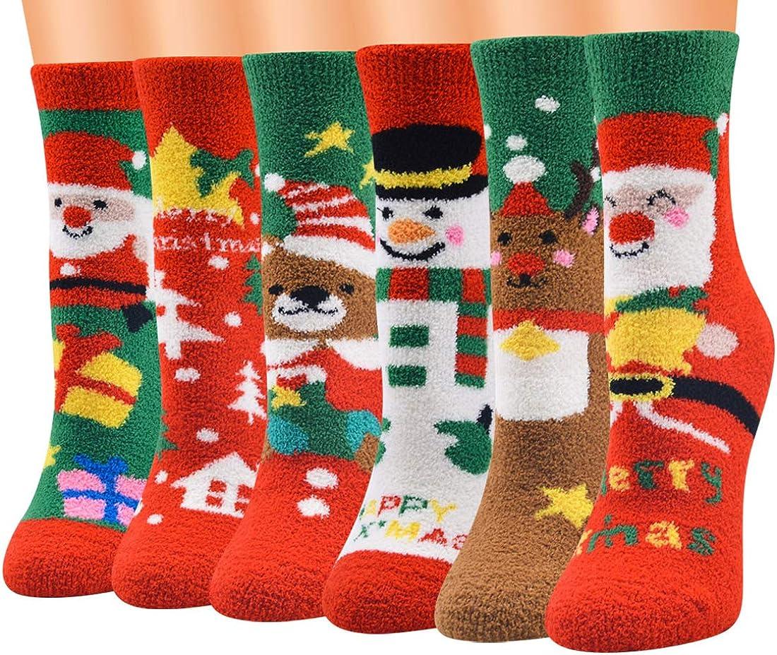 SoulQ Christmas Fuzzy Socks,Colorful Coral Fleece Socks,Women Slipper Socks Xmas Gifts
