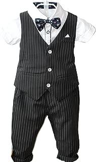 YUFAN Boys Pinstripe Vest Set Vest + Pants + Shirt 3 Pieces Black & Blue 2 Colors