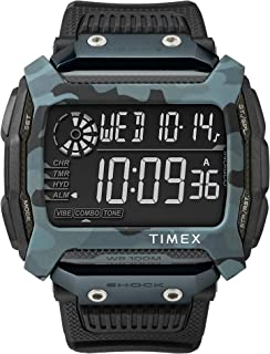 Timex Men's Command Shock 54mm Resin Strap Watch, Black (BLK/TW5M18200JV), One Size