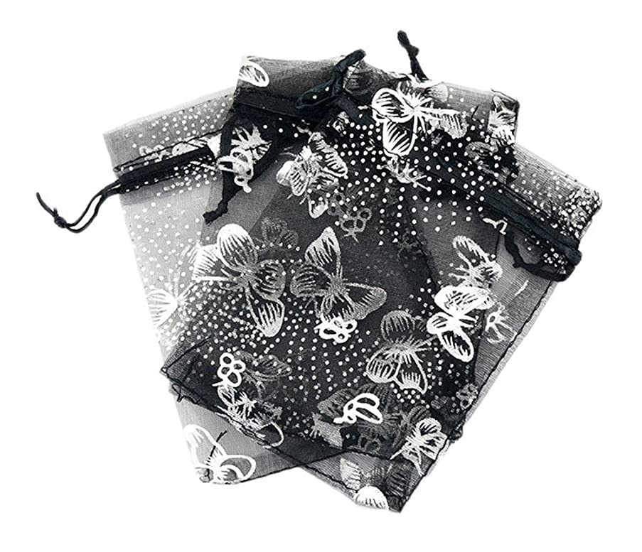 Tovip Wholesale 50PCS Organza Bag Butterfly Design Wedding Pouches Jewelry Packaging Bags (Black, 4.3x6.3 (11x16cm))