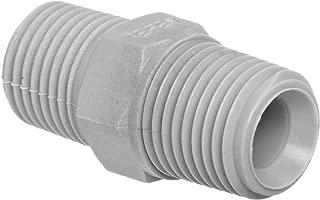 Tefen Nylon 6/6 Pipe Fitting, Hex Nipple, Gray, 1/2