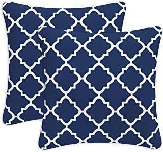 Fabritones Decorative Outdoor Pillows with Insert 2 Packs Navy Quatrefoil Lattice Pattern Patio Accent Pillows Throw Covers 18x18 Inch Square Cushions for Patio Furniture