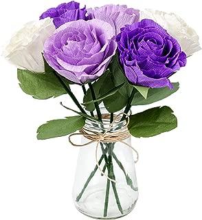 Paper Flower Decorations, Crepe Paper Rose Flowers, Artificial Flower Bouquet (Purple, White, Lavender, 6PCS) for Wedding Decor, Bridal Bouquet, Table Centerpieces, Baby Shower, Valentine's Day