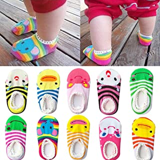 a53f3e27d FlyingP Assorted 10 Pairs Cute Animal Baby Ankle Cotton Socks Non-Skid Baby  Toddler Anti