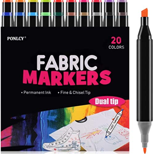 PONLCY LargeFabric Markers for T-shirts, 20 Colors Permanent Nontoxic Fabric Pens, Dual Fine & Chisel Tips Fabric Pa...