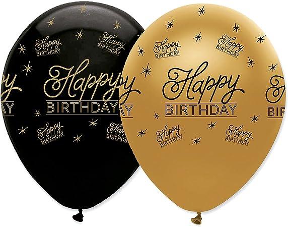 Creative Party Rb292 Sml Latex Luftballons Happy Birthday Schwarz Und Gold 6 Stück Küche Haushalt