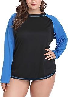 58b6b242d3c2a Anwell Women s Plus Size Rash Guard UPF 50+ Long Sleeve Swim Shirt Rashguard