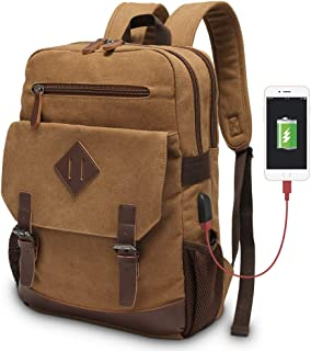 Vintage Backpack for Men, Modoker Canvas Leather Laptop School Backpack College Bookbag with USB Charging Port, Multipurpose Travel Vegan Rucksack Daypack Computer Bag Fits 15.6 inch Brown