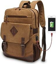 Vintage Backpack for Men, Modoker Canvas Leather Laptop School Backpack College Bookbag with USB Charging Port, Multipurpose Travel Vegan Rucksack Daypack Computer Bag Fits 15.6 inch Brown