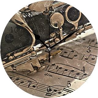 壁掛け時計 アクリル 雑貨 かけ時計 壁掛時計 掛け時計 時計 無音時計 連続秒針 静音 オシャレ クラリネット クローズアップ