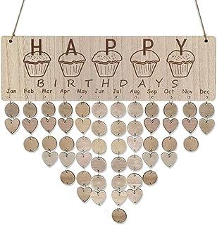 AceAcr Birthday Calendar Wall Hanging Wooden Calendar Board Plaque Family Calendar DIY Birthday Anniversary Reminder Calendar