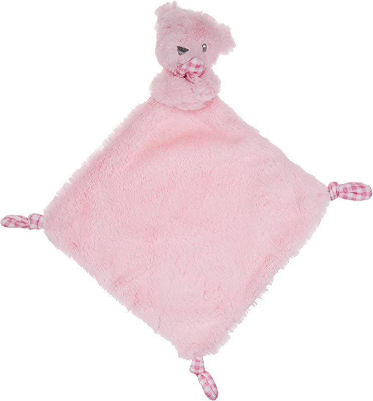 KELLY BABY Pink Bear Security Blanket With Rattle Polka Dot Accents