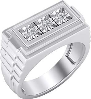 Trillion Jewels Three Stone Rolex Style Mens Ring 0.27 CT Round Diamond in 14K White Gold Finish