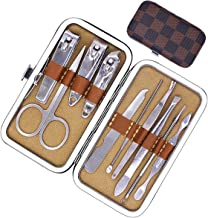 Dokpav 10 Pcs Nail clip set Manicure Pedicure Kit Nail Care Cutter Cuticle Remover Nail Clippers Pedicure Travel Manicure Grooming Tool Kit Set With Leather Case, Stainless Steel, Brown