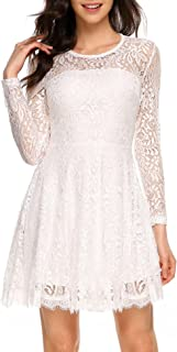 Women Elegant Long Sleeve A Line Party Cocktail Formal Swing Lace Dress with Lining