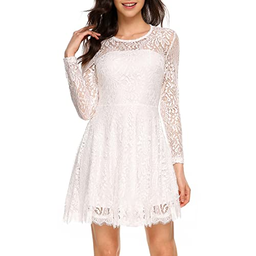 d97193c71e7 ANGVNS Women Elegant Long Sleeve A Line Party Cocktail Formal Swing Lace  Dress with Lining