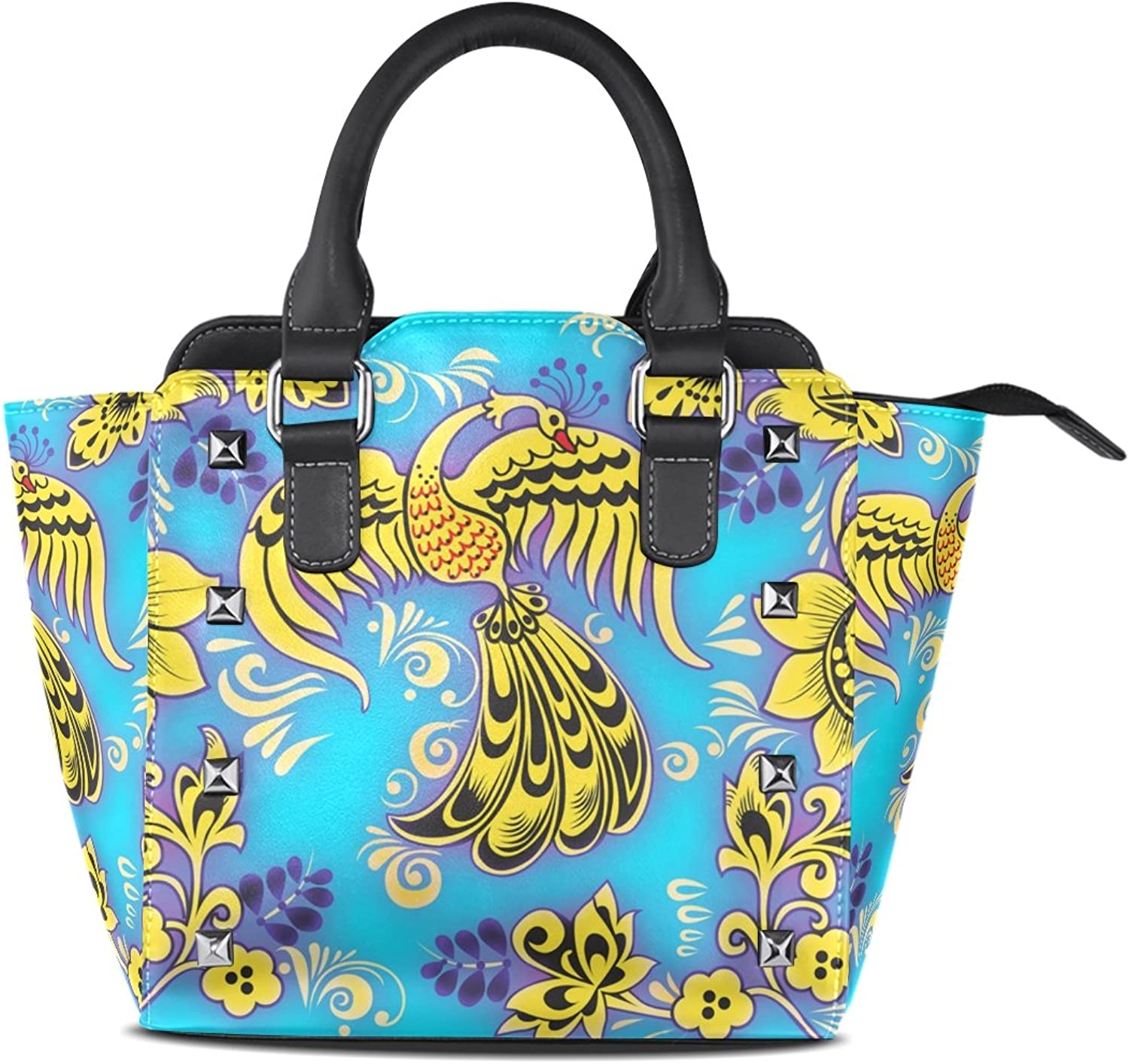 Sunlome Abstract Yellow Phoenix Print Women's Leather Tote Shoulder Bags Handbags