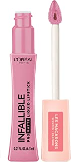 L'Oreal Paris Makeup Infallible Pro Matte Les Macarons Scented Matte Liquid Lipstick, Highly Pigmented, Longwear, Waterproof & Smudge Proof, Dose of Rose, 0.21 fl. oz.