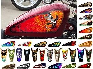 East Coast Vinyl Werkz Motorcycle Gas Tank Decals/Sets - for Harley Davidson Sportster Honda Shadow Suzuki Kawasaki Indian Yamaha (Demon Skull - 2pc Side Tank Decals)