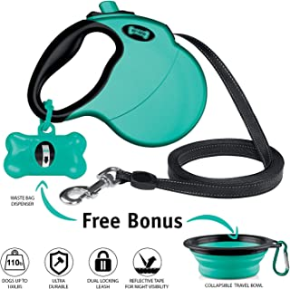 Ruff 'n Ruffus Retractable Dog Leash with Free Waste Bag Dispenser and Bags + Bonus Bowl   Heavy-Duty 16ft Retracting Pet Leash   1-Button Control   Durable