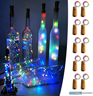 UNIQLED 10 Packs 20 LED Wine Bottle Cork Starry String Lights Battery Operated Fairy Night Wire Lights for DIY Wedding Decor Party Christmas Holiday Decoration (4 Colors)