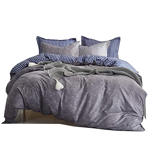 Uozzi Bedding 3 Piece White Duvet Cover Set with Leaves, 800 - TC Luxury Hypoallergenic Comforter Cover with Zipper Closure, Corner Ties. 1 Duvet Cover + 2 Pillow Shams (Dark-Gray, Queen(1 duvet cover+2 Pillowcases))