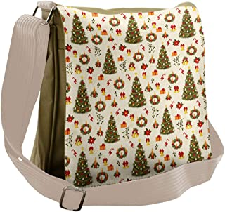 Ambesonne Christmas Messenger Bag, Cartoon Trees Bells, Unisex Cross-body