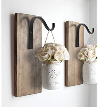 Mkono Iron Wall Hooks Metal Lantern Bracket Decorative Coat Hook for Hanging Lantern,Bird Feeders,Wind Chimes,Plant P...