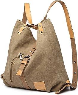 Kono Damen Canvas Handtasche Rucksack Frauen Schultertasche Shopper Tasche Vintage Hobo Umhängentasche für Arbeit Schule Reise Khaki