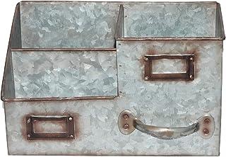 Benzara AMC0016 Three Bin Galvanized Metal Desk Organiser with Attached Label Slots, Gray