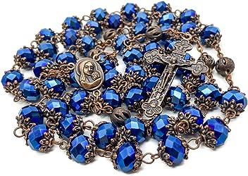 Deep Blue Crystal Rosario Collana Lunga Cattolica Chaplet SANTO terreno MEDAGLIA /& Cross