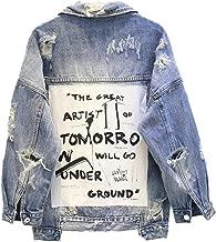 Womens Holes Jean Coat Denim Jacket Casual para Mujer BF Harajuku Coat