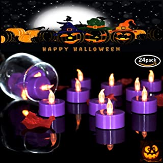 VETOUR 24pcs Purple Flameless Tea Lights Candles,LED Tea Lights Candles, Colors Flameless Tea Lights,Steady Flameless Tealights, Long Lasting Battery Operated Fake Candles –Decoration for Party