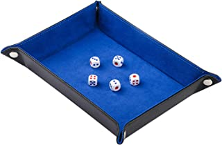 ELYTP Dice Tray of Folding Rectangle PU Leather and Blue Velvet Valet Tray for Dungeons and Dragons RPG,Dice Gaming and Other Table Games