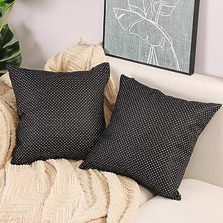 مجموعة Btyrle من 2 غطاء وسادة منقط 16 × 16 بوصة أغطية وسائد مربعة من الكتان مزيج أغطية وسائد للأريكة والسرير ديكور ، أسود...