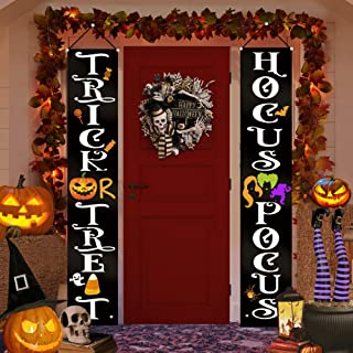 Halloween Decorations Outdoor Indoor - Trick OR Treat Hocus Pocus Large Banners Porch Signs - Witch Decor for Home Front Door Outside Yard Garden Party Office