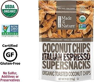 Made in Nature Organic Italian Espresso Toasted Coconut Chips, 9oz - Non-GMO Vegan Super Snack