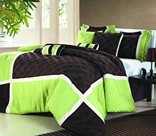 CHIC HOME Quincy brown/green OVERSIZED AND OVERFILLED 8 PCS COMFORTER SET, QUEEN SIZE, GREEN