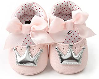 ZZBO Baby Girls Lace Mary Jane Flats Princess Bowknot Wedding Crib Shoes First Walking Pram Shoes Infant Newborn Toddler Ballet Pumps Soft Sole Non Slip
