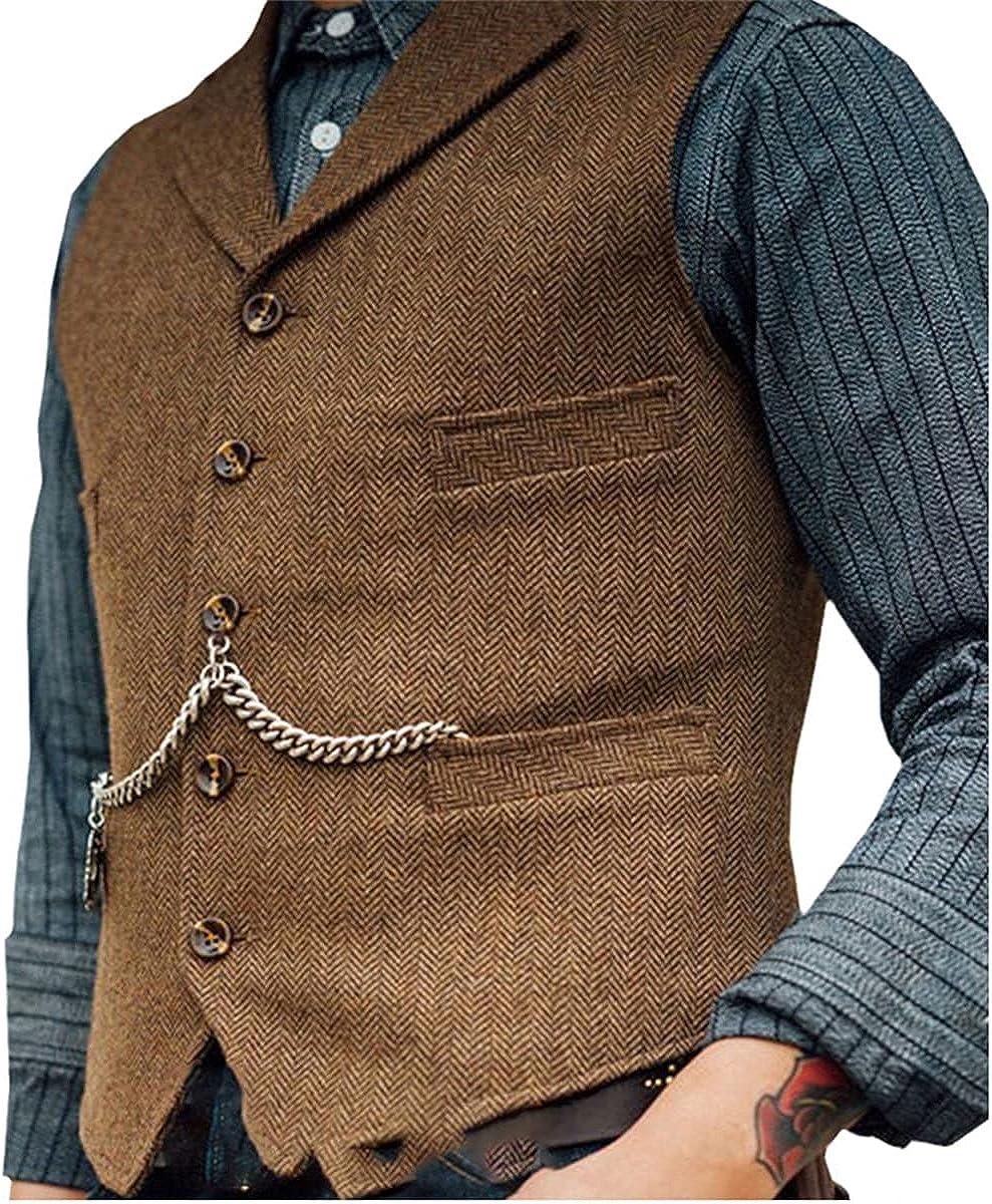 Men's Suit Vest Brown Wedding Wool Tweed Business Vest Jacket Casual Slim Vest Vest