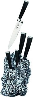 Warimex 8922 Bloc porte-couteaux Stoneline Excalibur avec 5 couteaux de cuisine en acier inoxydable (1 couteau de chef de ...