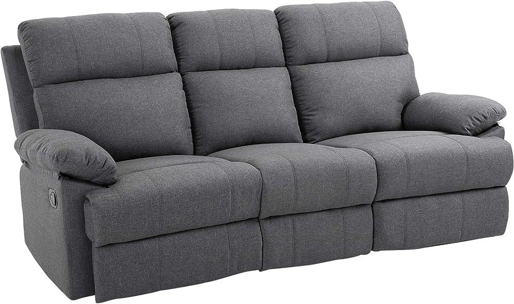 Homcom divano 3 posti in microfibra con schienale e poggiapiedi laterali reclinabili IT833-5500631